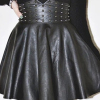 Black PU Leather High Waist Mini Skater Skirt with Rivets