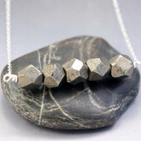 Pyrite Nuggets Necklace - Bead Bar Necklace