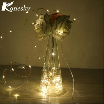 2m 20-LED Copper Wire String Light with Bottle Stopper for Glass Craft Bottle Fairy Valentines Wedding Decoration Lamp Christmas