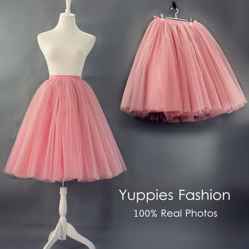 Yuppies Fashion Quality 7 Layers Midi Tulle Skirts Womens High Waist Adults Tutu Skirt Vintage Lolita Petticoat faldas saia jupe