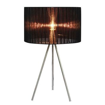 Simple Designs Sheer Silk Band Tripod Table Lamp