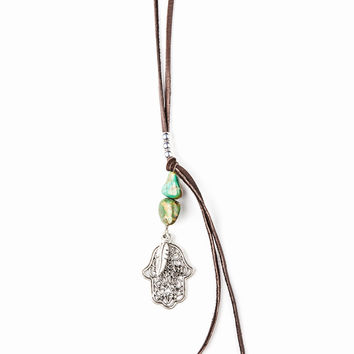 Hamsa River Necklace