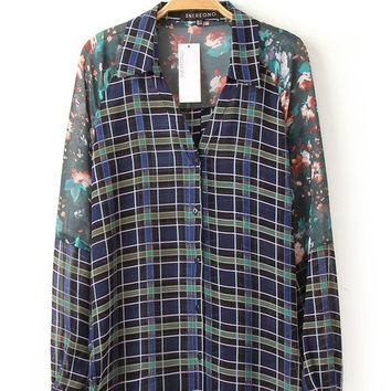 Sheer Floral and Plaids Chiffon Blouse