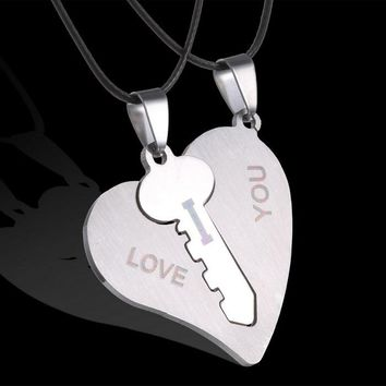 hot sale Korean Couple Necklaces Set  Pendant Necklace Engrave I Love You Matching Hearts Key 316L Stainless Steel