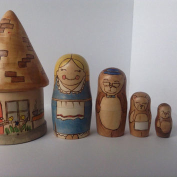 Goldilocks and Three Bears Wooden Nesting Dolls