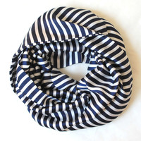 navy striped scarf,infinity scarf, scarf, scarves, long scarf, loop scarf, gift