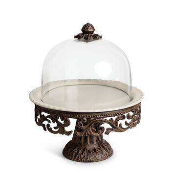 Acanthus Cake Pedestal with Glass Dome