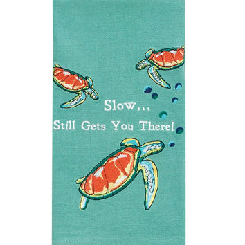 Slow... Gets You There - Cotton Embroidered Turtle Dish Towel -28-in x 19-in