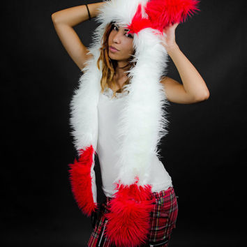 Zangoose inspired, Pokemon cosplay, faux fur, animal ear hood, furry scoodie, hat