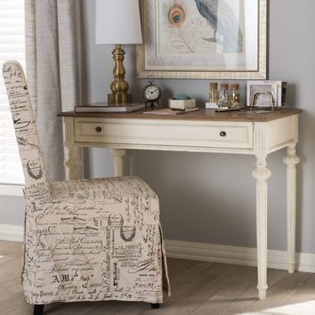 Baxton Studio Marquetterie French Provincial Weathered Oak and Whitewash Writing Desk Set of 1