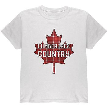 Canada Day Lumberjack Country Plaid Youth T Shirt