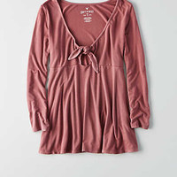 AEO Soft & Sexy Tie Front T-Shirt , Orchid Bouquet