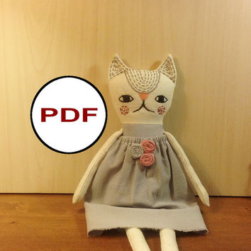 cat sewing pattern PDF cat pattern tutorial PDF doll pattern stuff cat pattern rag doll pattern fabric cat pattern cloth doll pattern