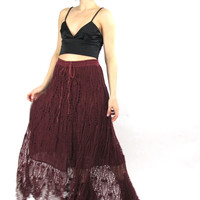 Vintage Hippie Boho Crochet Skirt Wine Red Knit Maxi Skirt Sheer Knit Webbed High Waist Sheer Festival Maxi Skirt Rayon Made in India (M/L)