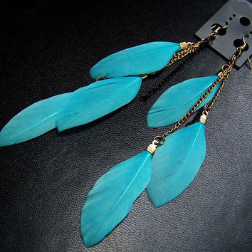 Feather Earrings Colorful Vintage Luxury Long Dangle Earrings Bijoux Jewelry