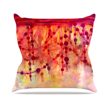 "Ebi Emporium ""Prismacolor Pearls"" Pink Orange Throw Pillow"