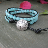 Striking Blue Double Wrap Bracelet