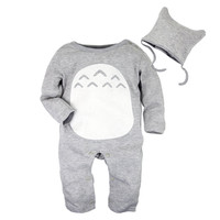 Big Elephant 2 Pieces Baby Boys Long Sleeve Totoro Romper with Hat Set D76 Gray