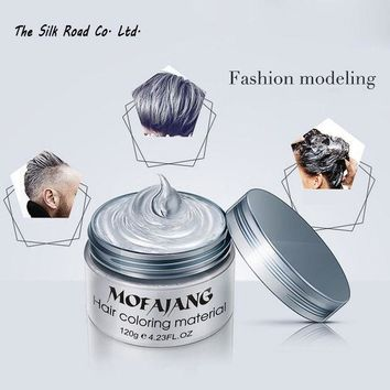 VONC1Y Hair color wax dye one-time molding paste seven colors available BLUE Burgundy grandma gray green hair dye wax