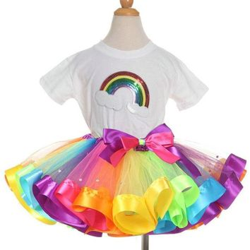 Summer Rainbow Short Sleeve T-Shirt + Tutu with Bow Outfit