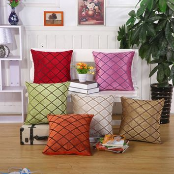 Geometric Vintage Red Yellow Green Throw Pillows Cushion Cover American Style Velvet Chair Sofa Seat Decoration Pillow Covers