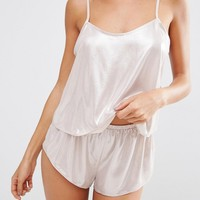ASOS Naomi Metallic Cami & Short Set at asos.com