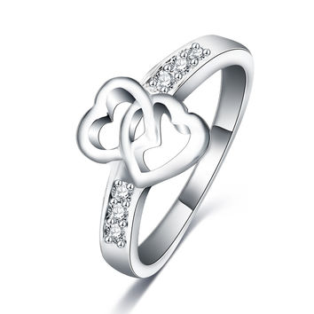 LZESHINE New Party Rings Double Love Heart  Shape Promise Rings For Women Silver Plated  Wedding Engagement Ring CRI0047-B