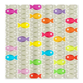 Fish Shower Curtain - Bright Or Dark - Ornaart Design
