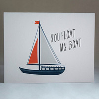 You Float My Boat Card, 5.5 x 4.25 Inch (A2), Love Card, Valentine Card, Card for Boyfriend, Card for Girlfriend, Cute Love Card, Nautical