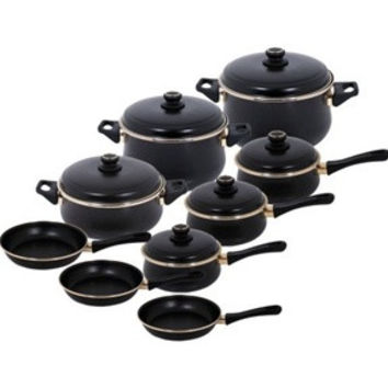 Tuscany Enamel On Steel Black Matte 15 Piece, Cookware Set