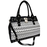 Aztec Sante Fe Print Decorative Lock Buckle Handbag Shoulder Purse (Black)