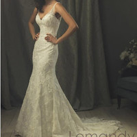 mermaid V neck organza with applique wedding dress