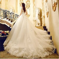 Large Size New Lace Wedding Dreses Slim Sleeveless Luxury Bridal High Quality Big Trailing Dress AW223