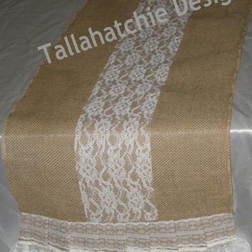 "Burlap And Lace Table Runnrer* 12"" X 108 "" Burlap Runner* Wedding Table Runner"