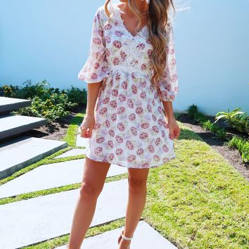 Flowers In The Sun Dress: Ivory/Multi