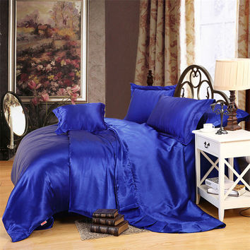 classical royal blue solid silk sheets sets soft feeling coverlet linens Twin Queen King size duvet cover set bedding sets