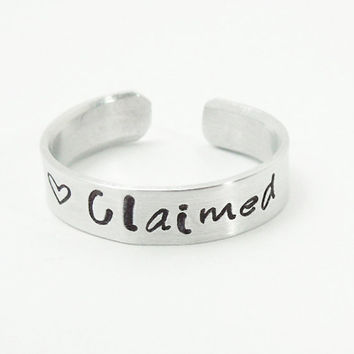 "Stamped ""Claimed"" ring heart ring - Commitment ring - Adjustable silver-tone aluminum ring Relationship ring"