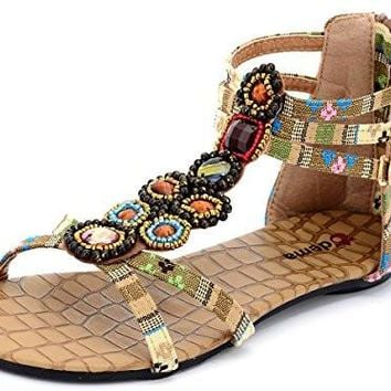 Women's Thong Flat Sandals Summer Bohemian Beaded Floral Beach Synthetic leather