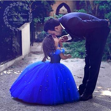 Royal Blue Ball Gown Cinderella Flower Girl Dresses For Weddings Princess Girls Pageant Dress Party Gowns Vestido Para Daminha