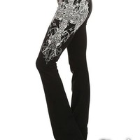 New Black White Angel Wing Printed Bell Bottom Plus Size Casual Fashion Long Pants