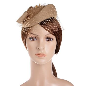VBIGER Womens Hat Cap Fedoras Dress Fascinator Wool Felt Pillbox Hat Party Wedding Bow Veil Hat