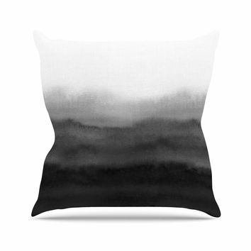 "Draper ""Ombre Ink Wash"" Gray Black Outdoor Throw Pillow"