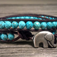 GOOD LUCK Elephant, Magnesite Turquoise Double Leather Wrap Bracelet, Shabby Chic, Bohemian, Mothers Day Gift