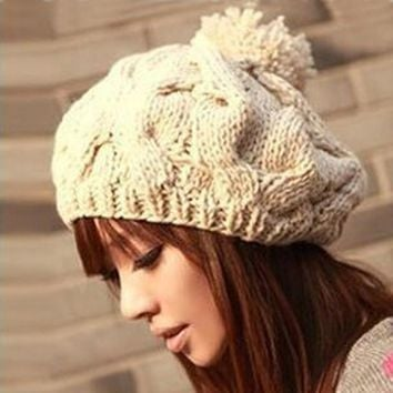 Free shipping,1pcs,2016 new Korean version of the pumpkin hat hand-knitted hats autumn and winter Wool cap,Warm hat,Multicolor