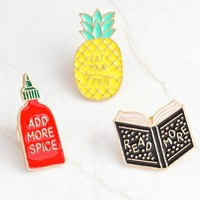 "Enamel pins Book pineapple spice bottle pins ""READ MORE, ADD MORE SPICE, EAT YOUR FRUIT"" funny badges"