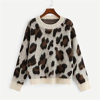 Contrast Trim Leopard Sweater Women Casual Pullovers Female Knitted Jumper Long Sleeve Womens Sweaters