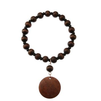 Natural Wood Beads Bracelet Round