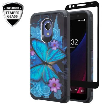 Alcatel 1x Evolve Case, [Include Temper Glass Screen Protector] Slim Hybrid Dual Layer [Shock Resistant] Case for 1x Evolve - Blue Butterfly