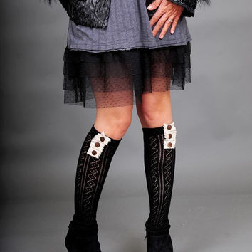 Button and Lace Boot Socks in BLACK