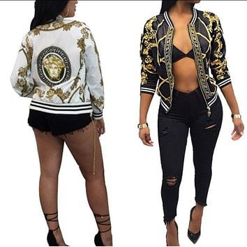 Versace Fashionanable Women Casual Long Sleeve Zipper Jacket Coat